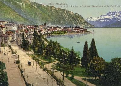 Montreux, Vue du Palace-Hôtel sur Montreux et la Dent du Midi, © Karten-Centralen, Zürich, carte datée de 1911