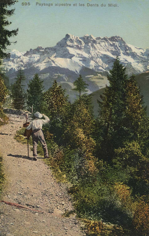 Paysage alpestre et les Dents du Midi © Phototypie Co., Neuchâtel