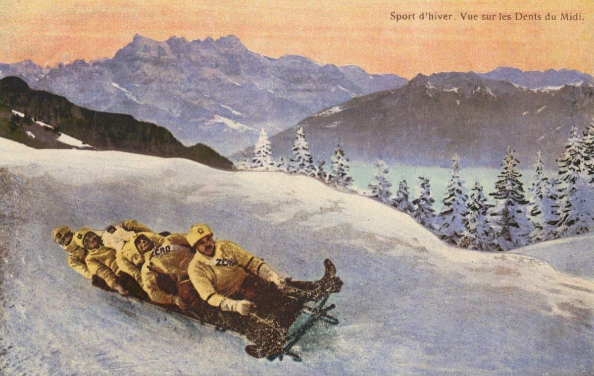 Sport d'hiver. Vue sur les Dents du Midi © Edit. Art. S.A. Schnegg, Lausanne