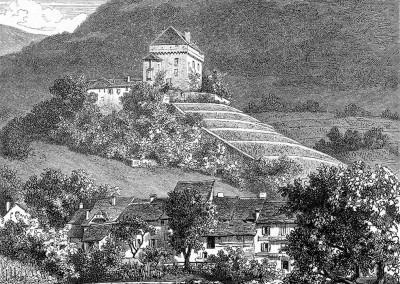 Tavel et le château de Châtelard près Clarens par Gustave Roux, illustrateur, gravures sur bois par G. Perrichon et Buri & Jeker, 1869
