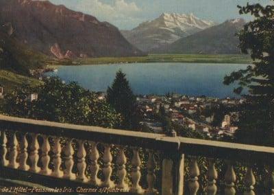 Vue de l'Hôtel-Pension les Iris. Chernex sur Montreux, © Guggenheim & Co., Editeurs, Zürich, carte datée de 1937