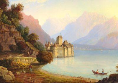 Vue du château de Chillon, au Canton de Vaud, prise du côté de Vevay