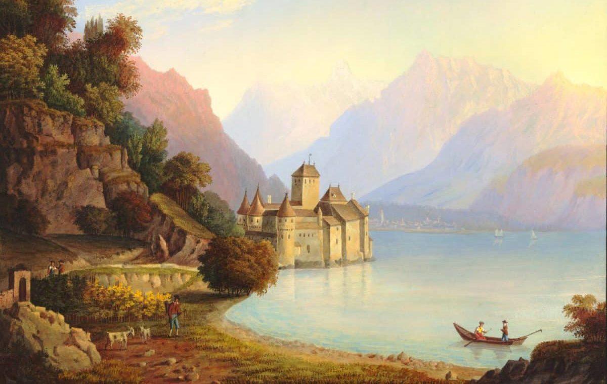 """Vue du Château de Chillon, au Canton de Vaud, prise du côté de Vevey, 1800 Grundmann pinxit. Publié pr. J.P. Lamy à Berne, Bâle, Lausanne, et Genève. 26 x 23,6cm. Collection """"The British Museum"""""""