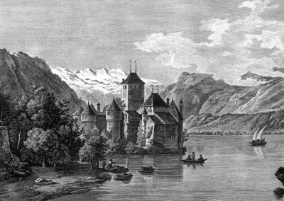 IIe vue du château de Chillon, dans le Canton de Berne, sur le Lac de Genève, prise du côté du Valais. © Bibliothèque cantonale et universitaire de Lausanne, cote 3C 35//1-4, VIATICALPES, graveur, Fessard, Claude Mathieu (1740-1803), dessinateur, Pérignon, Nicolas (1726-1782).