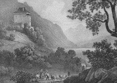 Château du Chatelar, © Bibliothèque publique et universitaire de Neuchâtel, cote: 58.C.1.9, VIATICALPES, Lettres sur la Suisse, 1823-1832, 130 illustrations, Villeneuve, Dessinateur, Jules-Louis-Frédéric (1796-1842), Lithographe, Engelmann, Godefroy (1788-1839).