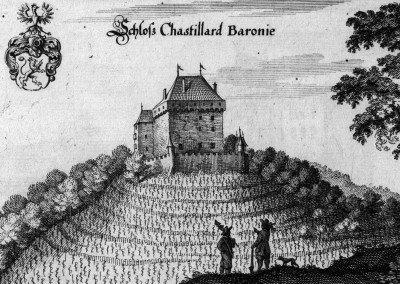 Schloss Chastillard Baronie, © Bibliothèque de la Bourgeoisie de Berne, cote: BBB Mül S 108, VIATICALPES, Topographia Helvetiae, Rhaetiae et Valesiae, 1654, 86 illustrations.