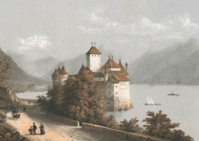 Souvenir de Montreux, Chillon, Dess. d'ap. nature par E. Lafon, Ad. Cuvillier, lith.