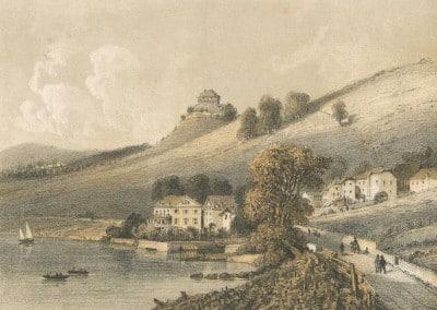 Lac Léman, Vernex et le Châtelard. J. Jacottet del et lith., Blanchoud, Edit. à Vevey. © Archives de Montreux ; fonds iconographique (cote AM 0165)