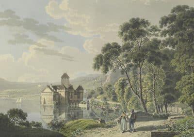 Château de Chillon, Voyage pittoresque au lac de Genève ou Léman, © Bibliothèque de Genève, VIATICALPES, cote: PFy 59, 1820, 10 illustrations, graveur, Hegi Franz (1774-1850), dessinateur, Wetzel Johann Jakob