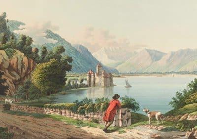Vue du château de Chillon sur le Lac de Genève au Canton de Berne, gravé d'après le tableau original de Mr. Hubert de Genève, et se trouve à Basle chez Chr. de Mechel. Entre 1790 et 1797. Collection Gugelmann
