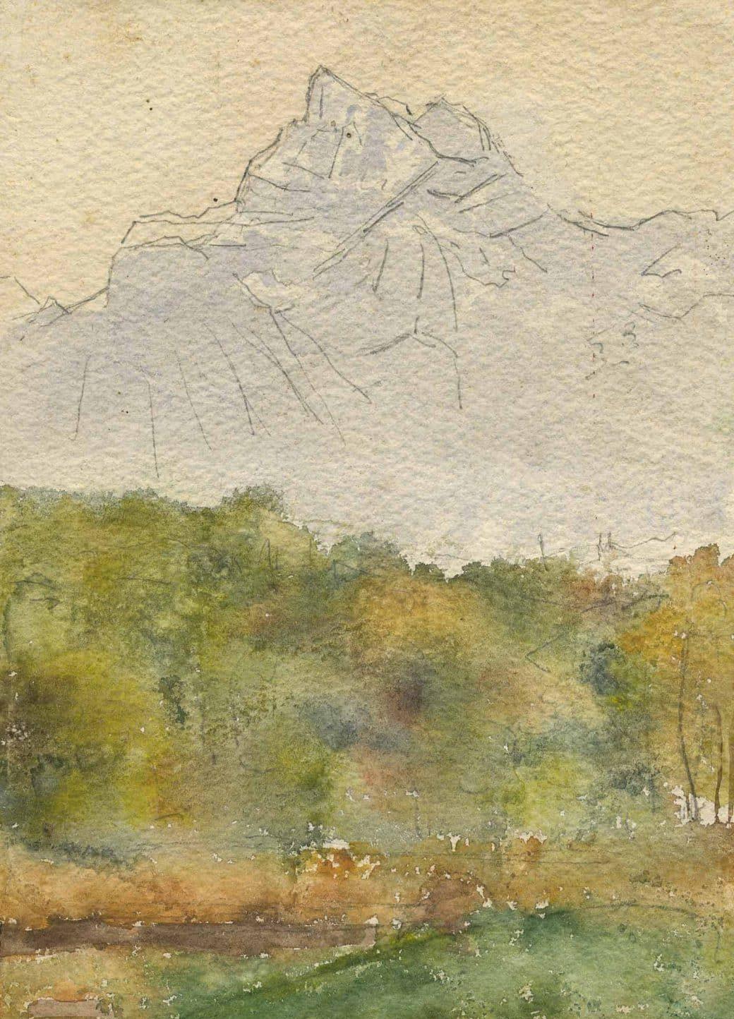 Le pont de la teinturerie et la Dent-du-Midi. Peinture exécutée par Mr. Alfred de Peyer (1839-1906), collection Mandement de Bex
