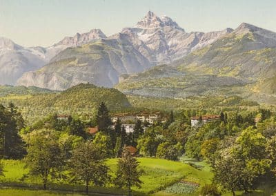 Vallée du Rhône, Bex-les-Bains, Suisse. Le Grand Hôtel des Salines et son établissement de Bains salins, etc. Photochrome 21.4 x 15.6cm