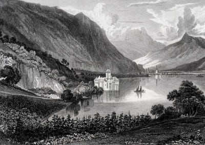 Castle of Chillon, © Médiathèque Valais, VIATICALPES, cote: BCV Rh 200, Swiss Scenery from Drawings, 1820, 62 illustrations, Dessinateur, Cockburn James Pattison (1779-1847), Graveur, Heath Charles (1785-1848)