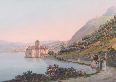 Le Château de Chillon, en alant de Villeneuve à Vevey. Dedié à Son Altesse Royale Monseigneur Le Prince Auguste Frederich d'Angleterre. Dessiné d'après Nature par L. Joyeux et Wexelberg, sans date, collection Gugelmann