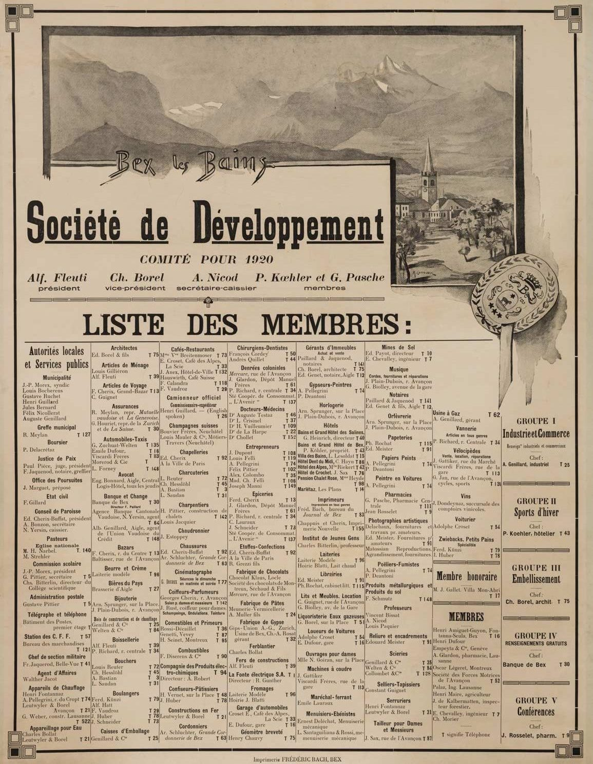 """Affiche """"Bex les Bains"""", Société de Développement, comité pour 1920. Imprimerie Frédéric Bach, Bex. 50 x 65cm, collection Mandement de Bex"""