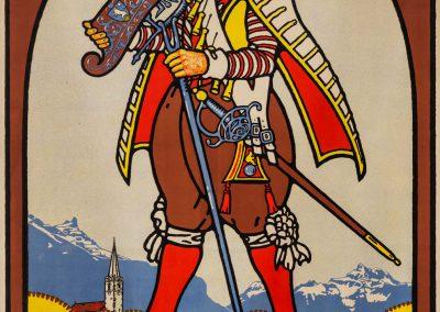 Tir cantonal vaudois, Bex du 7 au 18 juillet 1922. Rodolphe Michaud (1891-1944), lithographie Klausfelder S.A. Vevey, 67 x 99,5cm, collection Mandement de Bex