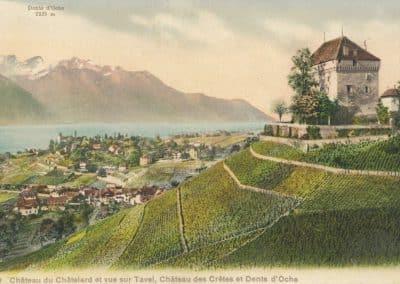 Château du Châtelard et vue sur Tavel, Château des Crêtes et Dents d'Oche, © Phototypie Co., Neuchâtel
