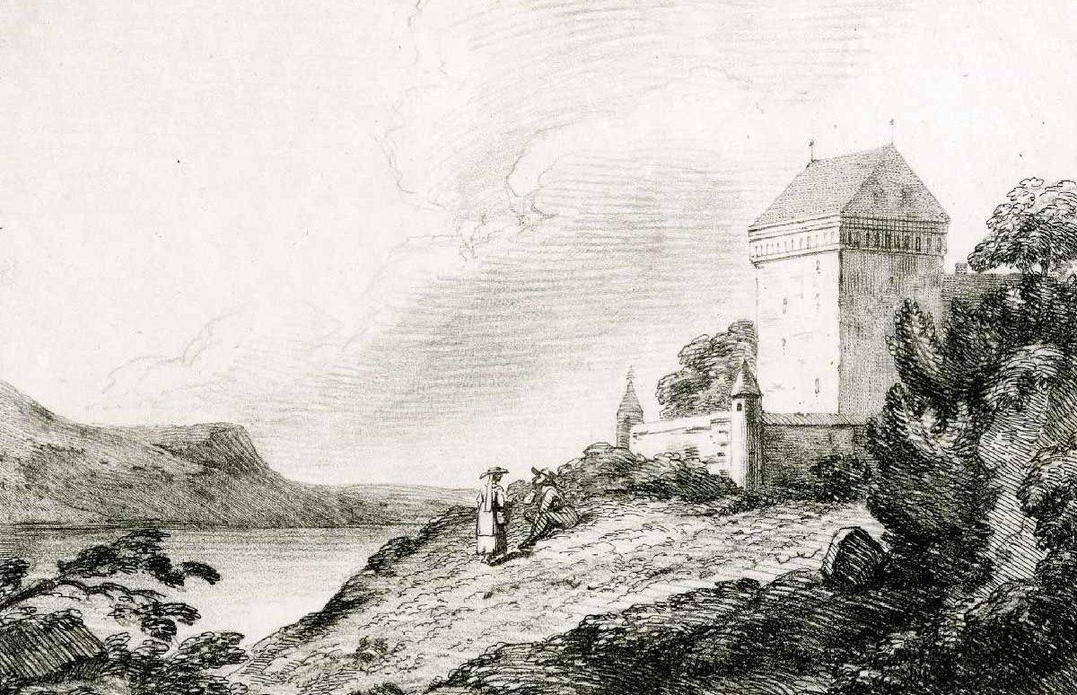 """Château de Clarens, 1792. Imprimé par Sir Charles Lyell. Collection """"The British Museum"""""""