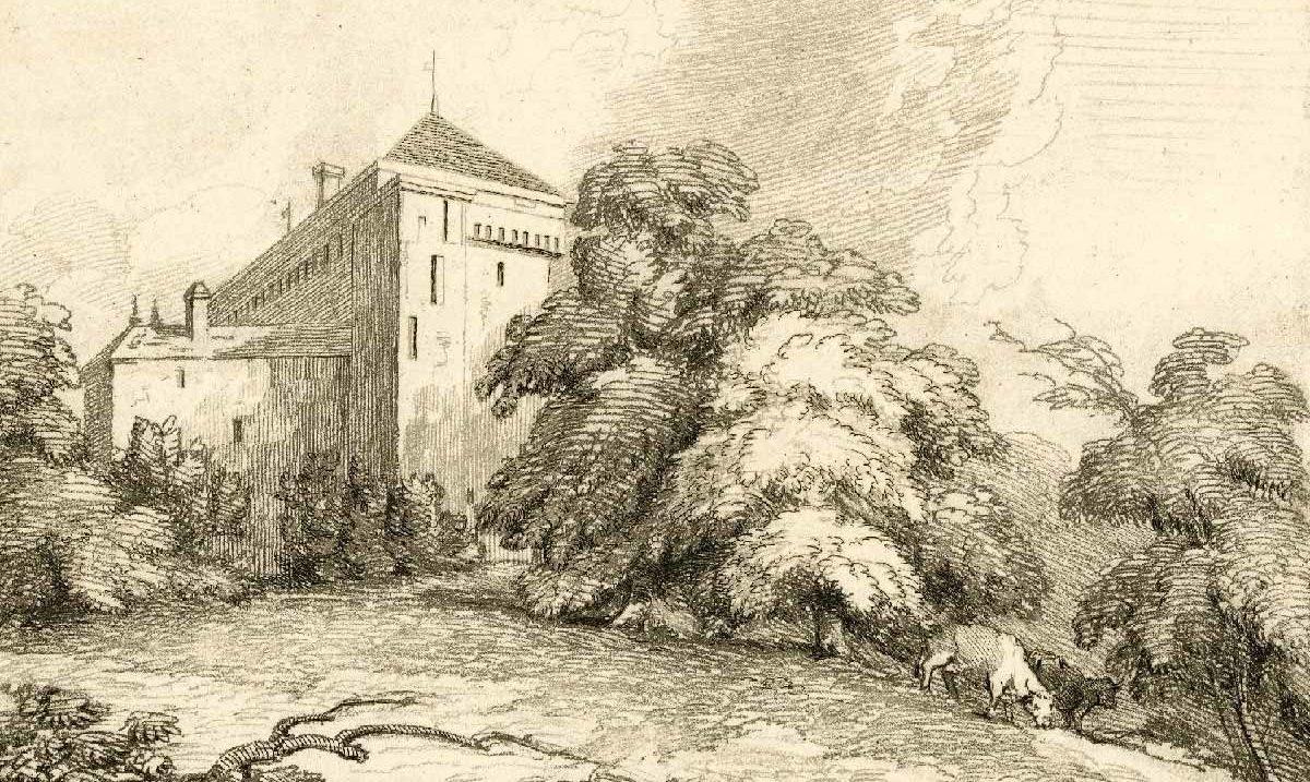 """Château de Clarens sur le lac de Genève, 1810 - 1840. Imprimé par Mary Turner. Collection """"The British Museum"""""""
