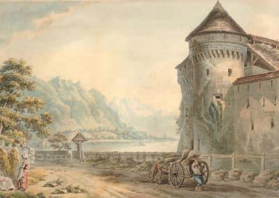 Vue du château de Chillon à 2 lieues de Vevey