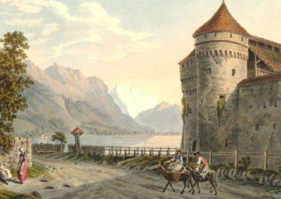 Vue du château de Chillon au Lac de Genève. Canton de Vaud