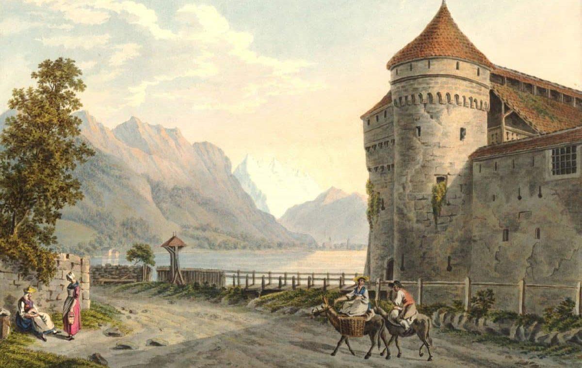 """Vue du château de Chillon au Lac de Genève. Canton de Vaud, 1791 - 1795. Locher del."""" and """"publié pr. J.P. Lamy à Berne & Bâle. 24,8 x 33,2cm. Collection """"The British Museum"""""""