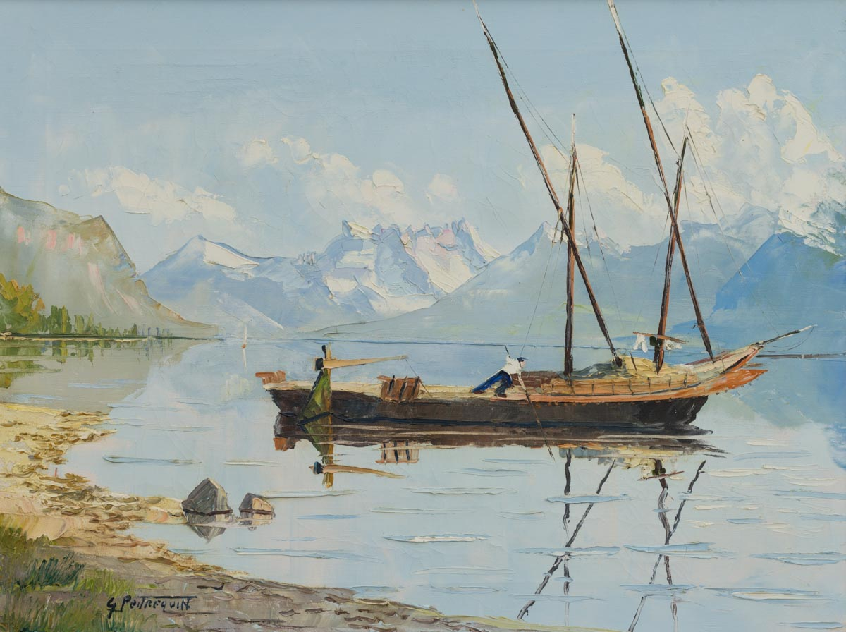 """Gaston Peitrequin (1915-1990), """"Barque du Léman au pied du Lavaux"""", vers 1940-1950. Huile sur toile 59,5 x 44,5cm. Collection privée"""