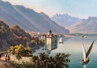 Le château de Chillon au bord du lac de Genève