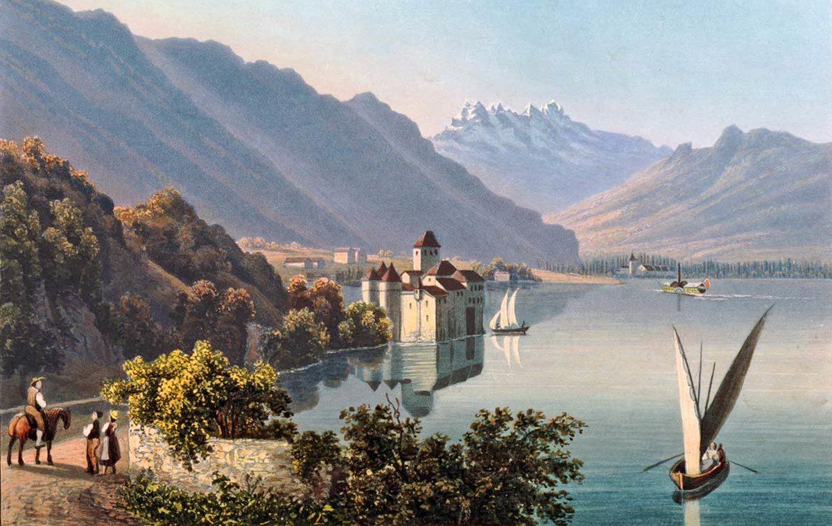 """Le château de Chillon au bord du lac de Genève. Zürich chez R. Dikenmann, peintre Neustadt n°148. 13,2 x 18,75cm. Collection """"The British Museum"""""""