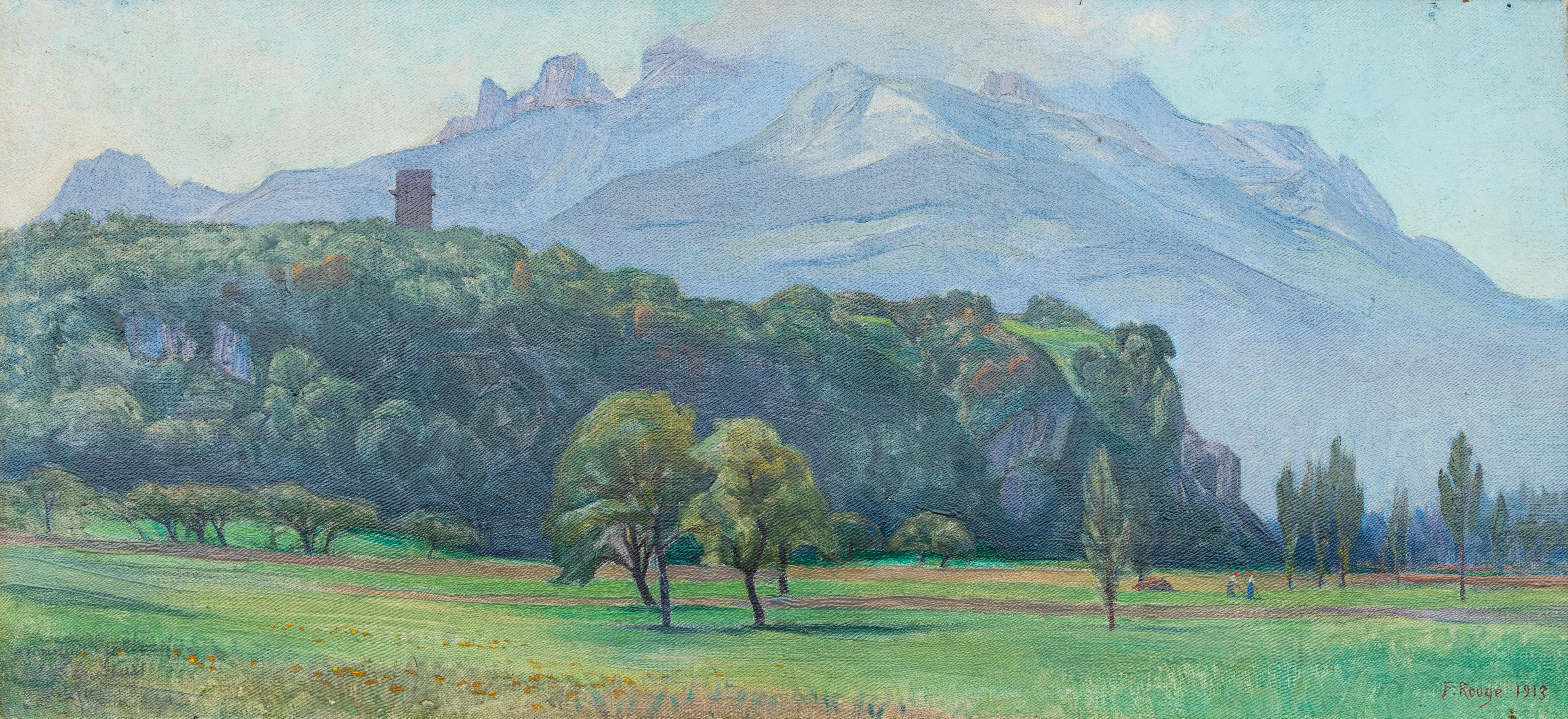 La Tour de Saint-Triphon et les Dents du Midi dans le brouillard, 1913. Huile sur toile 38 x 62cm (dimensions avec cadre). Collection privée