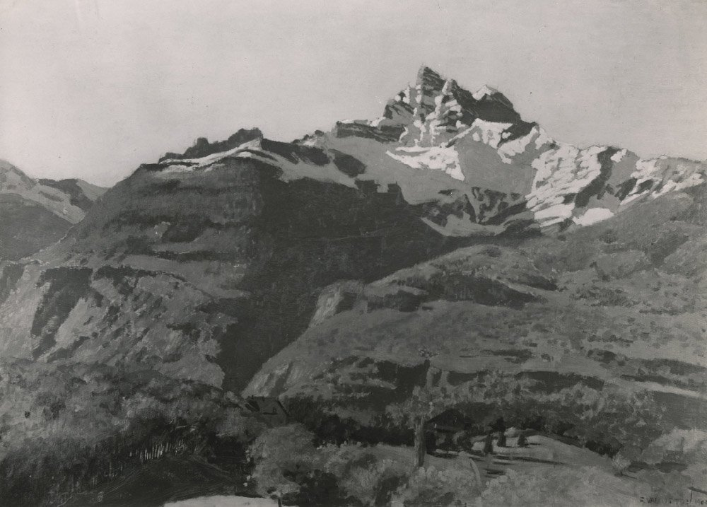 Félix Vallotton (1865-1925), Les Dents du Midi, 1900. Huile sur carton, 50,5 x 70 cm. Collection privée, Suisse. © Fondation Félix Vallotton, Lausanne