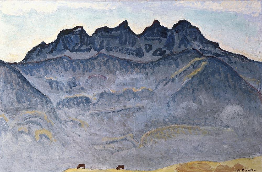 """""""Les Dents du Midi depuis Champéry"""", 1916. Huile sur toile 71 x 109cm. Collection Kunsthaus Zürich"""