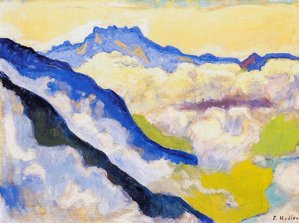"""""""Les Dents du Midi depuis Caux"""", 1917. Huile sur toile 60 x 80cm. Collection privée"""