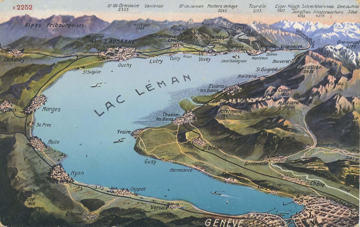 Panorama du Lac Léman © Edition Photoglob, Zürich. Carte datée de 1916