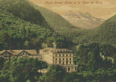 Aigle, Grand Hôtel et la Dent du Midi. © Edition Guggenheim & Co., Zürich, carte datée de 1919
