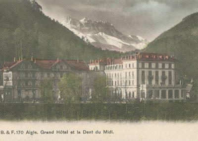Aigle. Grand Hôtel et la Dent du Midi. © Ed. Phot. Franco-Suisse, Berne, carte datée de 1908