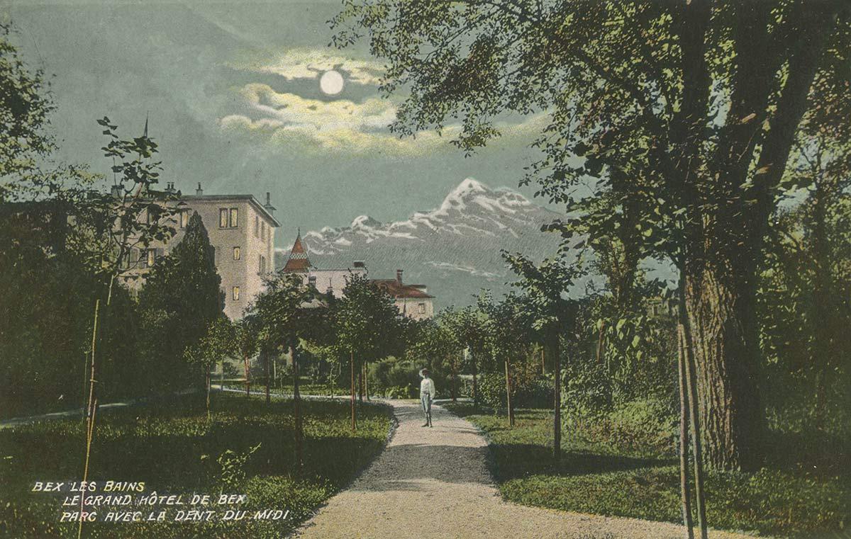Bex les Bains. Le Grand Hôtel de Bex. Parc avec la Dent du Midi. © Artist. Atelier H. Guggenheim & Co., Editeurs, Zürich