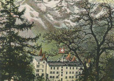 Bex les Bains. Le Grand Hôtel de Bex. Vue sur la Dent du Midi. © Artist. Atelier H. Guggenheim & Co., Editeurs, Zürich