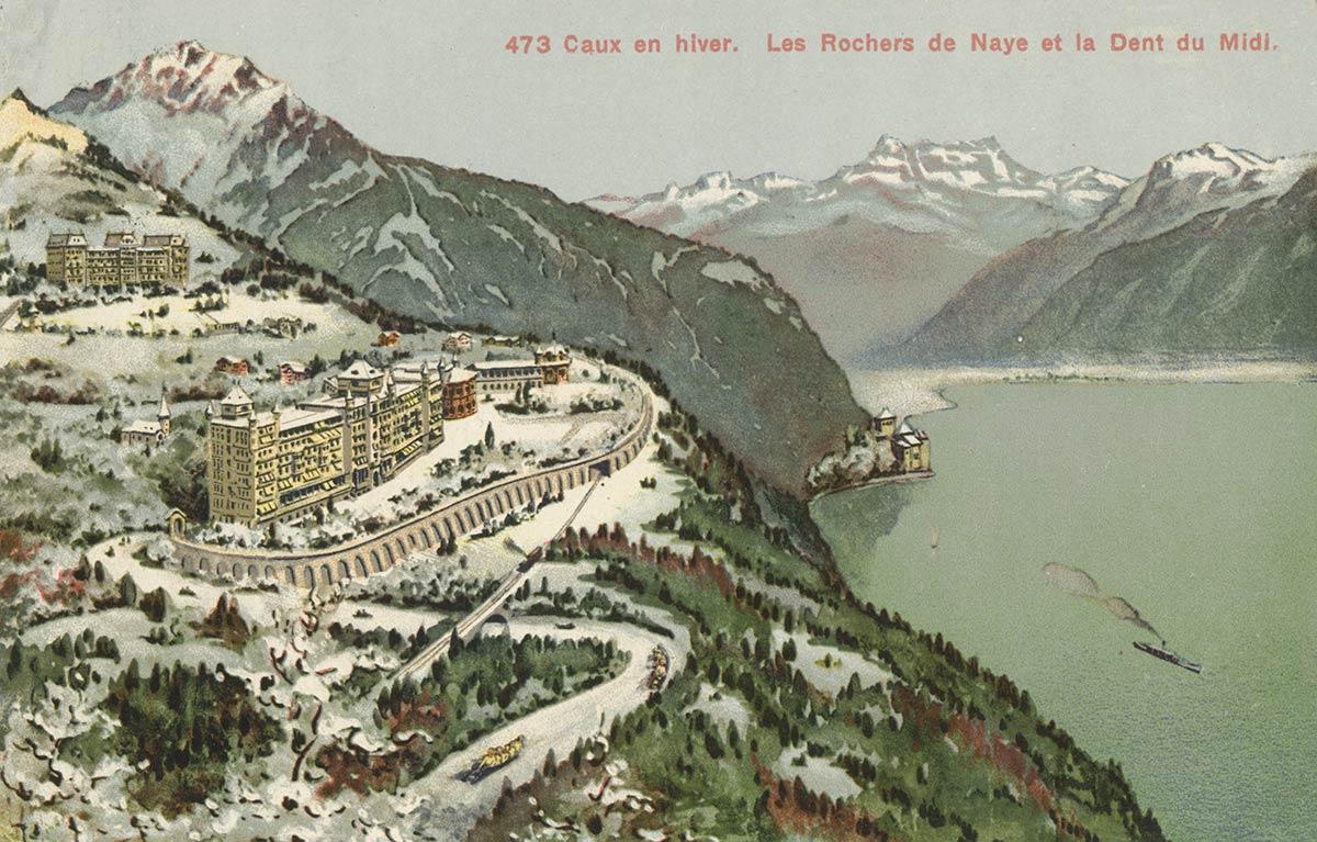 Caux en hiver. Les Rochers de Naye et la Dent du Midi. © Editions Louis Burgy & Co., Lausanne, carte datée de 1927