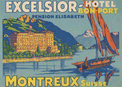 Etiquette de bagage. Excelsior Bon-Port Hôtel, Montreux, Suisse