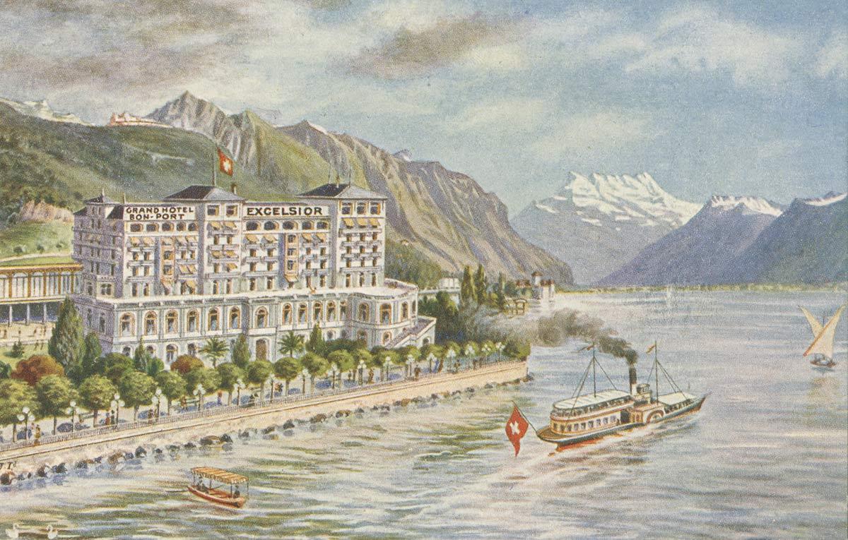 Grand Hôtel Excelsior et Bon-Port, Montreux. © Imp. & Phototyp. A. Leyvraz, Montreux