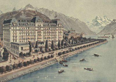 Grand Hôtel Eden - Montreux. © Art. Institut Orell Füssli Zürich, carte datée de 1913