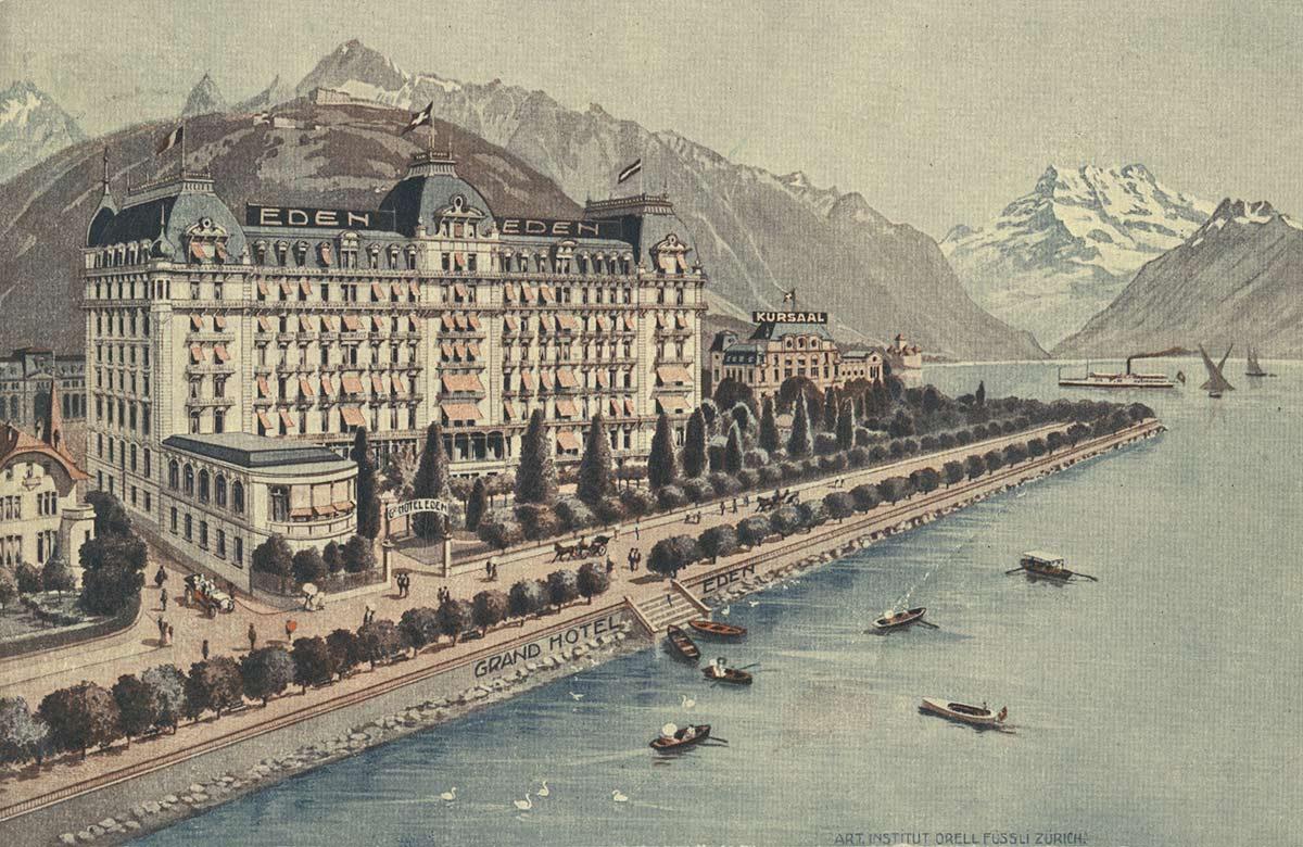 Grand Hôtel Eden - Montreux. © Art. Institut Orell Füssli - Zürich, carte datée de 1913