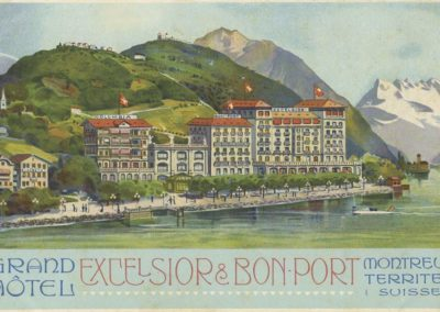 Grand Hôtel Excelsior & Bon-Port, Montreux - Territet (Suisse). © Lith. Säuberlin & Pfeiffer, Vevey