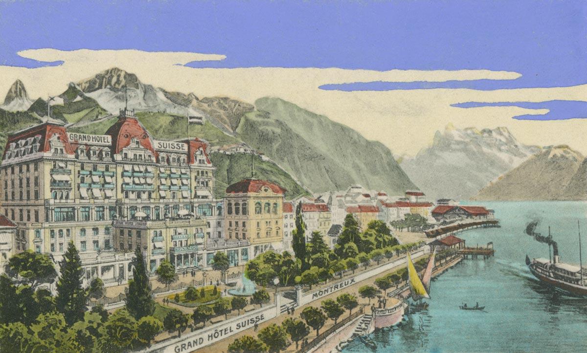 Grand Hôtel Suisse, Montreux. © Soc. de l'imprimerie & Lith. Montreux