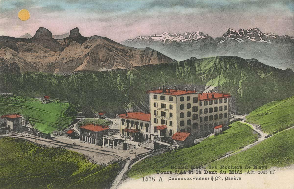Grand Hôtel des Rochers de Naye. Tours d'Aï et la Dent du Midi (alt. 2045m). © Charnaux Frères & Co., Genève