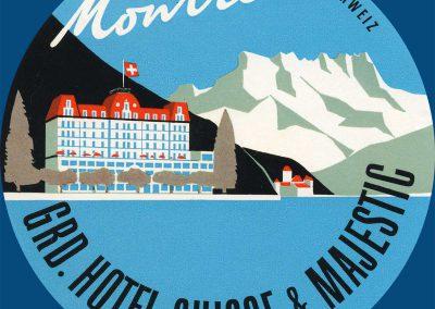 Etiquette de bagage. Grand Hôtel Suisse & Majestic à Montreux (Suisse). Impr. Brugger SA, Meiringen