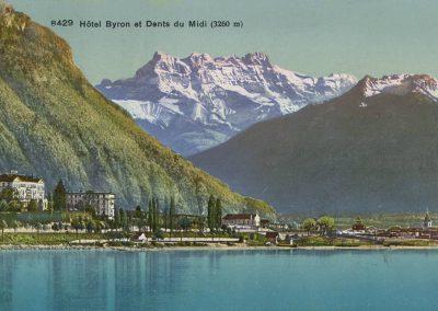 Hôtel Byron à Villeneuve et Dents du Midi (3260m). © Phototypie Co., Neuchâtel, carte datée de 1921