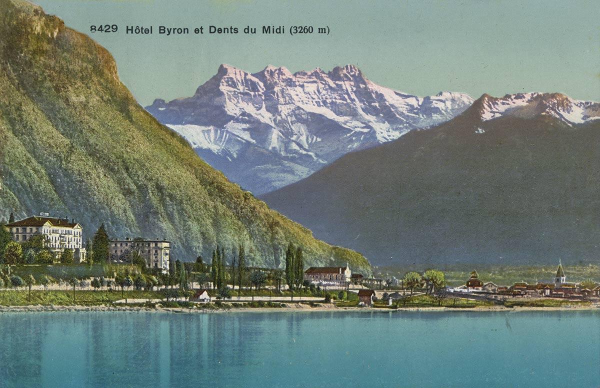 Hôtel Byron et Dents du Midi (3260m). © Phototypie Co., Neuchâtel, carte datée de 1921