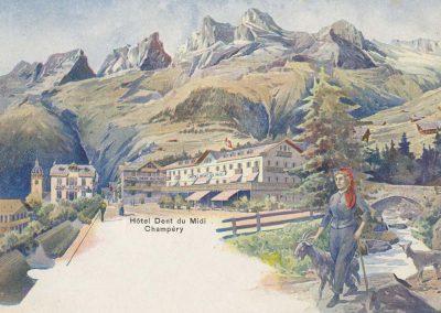 Hôtel Dent du Midi - Champéry, carte datée de 1901